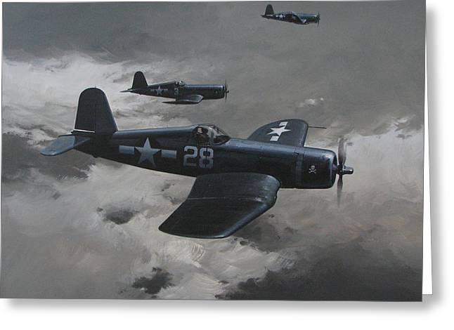 Naval Aircraft Greeting Cards - Dark Edge Greeting Card by Curtis Chapline
