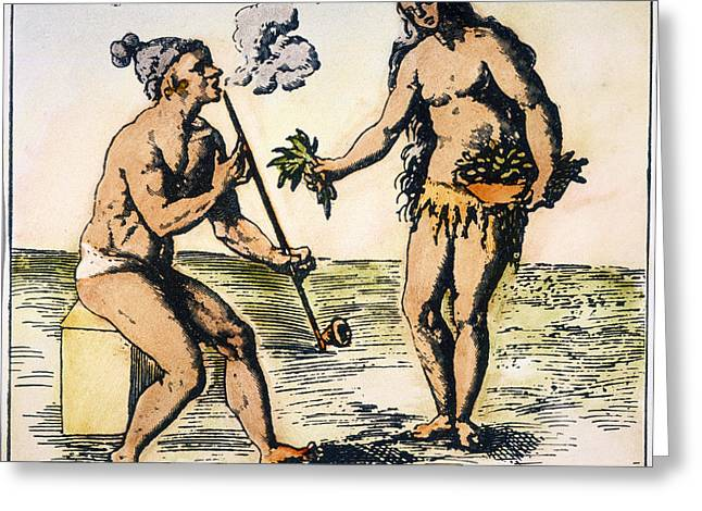 Smoker Greeting Cards - De Bry: Florida Native Americans Greeting Card by Granger