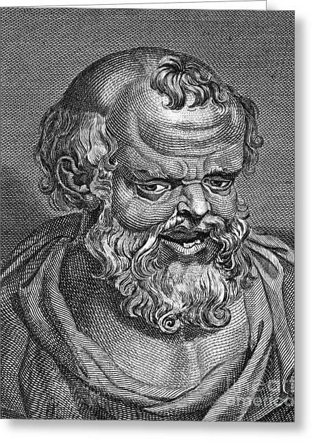 4th Century B.c. Greeting Cards - DEMOCRITUS (c460-c370 B.C.) Greeting Card by Granger