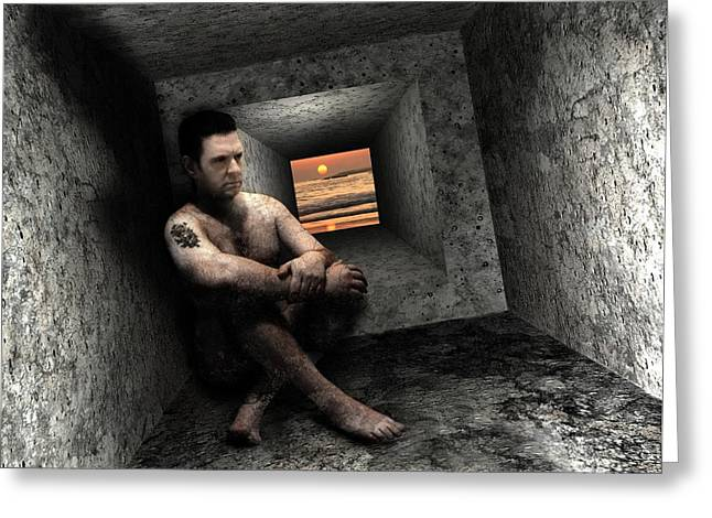 Catatonia Greeting Cards - Depressed Man Greeting Card by Victor Habbick Visions