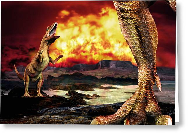 Wildlife Disasters Greeting Cards - Dinosaur Extinction Greeting Card by Victor Habbick Visions