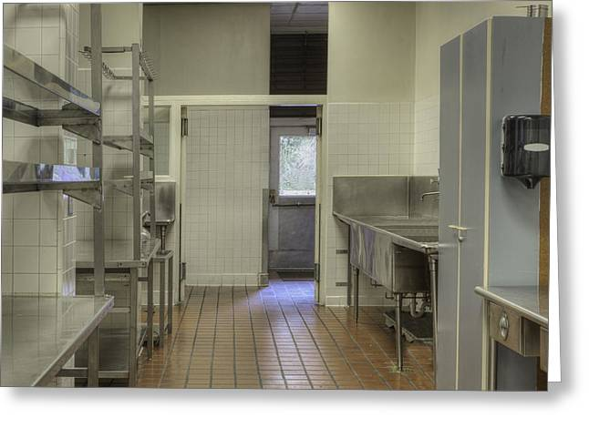 Residential Structure Greeting Cards - Dishwashing Station In Large Commercial Greeting Card by Douglas Orton