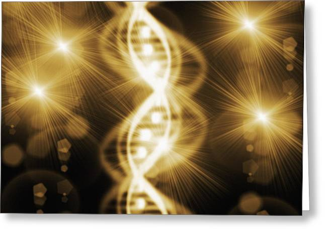 Helix Greeting Cards - Dna Greeting Card by Mehau Kulyk