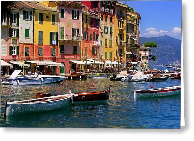 Portofino Italy Greeting Cards - 3 Dories Greeting Card by John Galbo