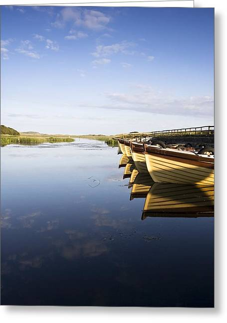 Boats In Reflecting Water Photographs Greeting Cards - Dunfanaghy, County Donegal, Ireland Greeting Card by Peter McCabe
