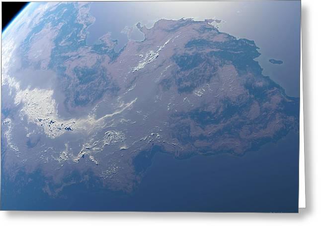 Super Stars Greeting Cards - Earth-like Planet, Artwork Greeting Card by Detlev Van Ravenswaay
