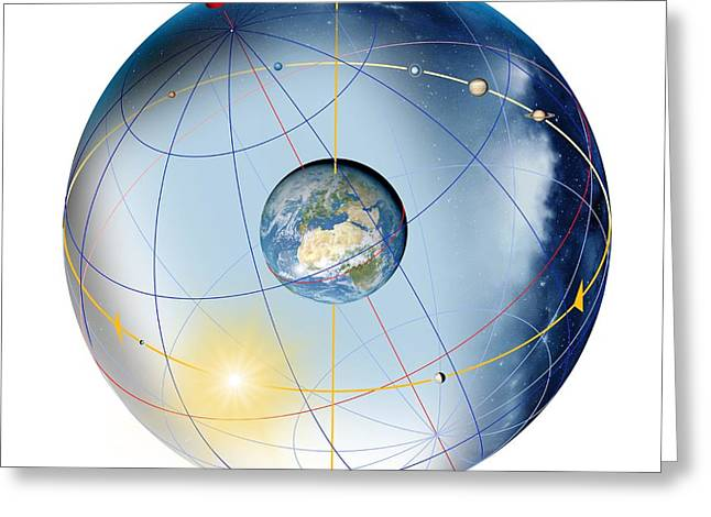 Rotation Greeting Cards - Earths Rotation, Artwork Greeting Card by Detlev Van Ravenswaay