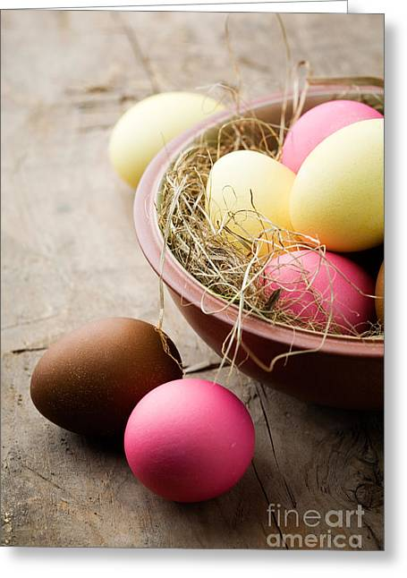 Wooden Bowl Greeting Cards - Easter eggs Greeting Card by Kati Molin