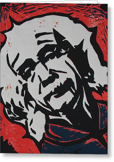Lino Print Greeting Cards - Einstein 2 Greeting Card by William Cauthern