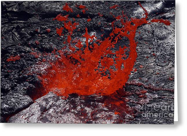 Vulcanology Greeting Cards - Erta Ale Fountaining Lava Lake, Danakil Greeting Card by Martin Rietze