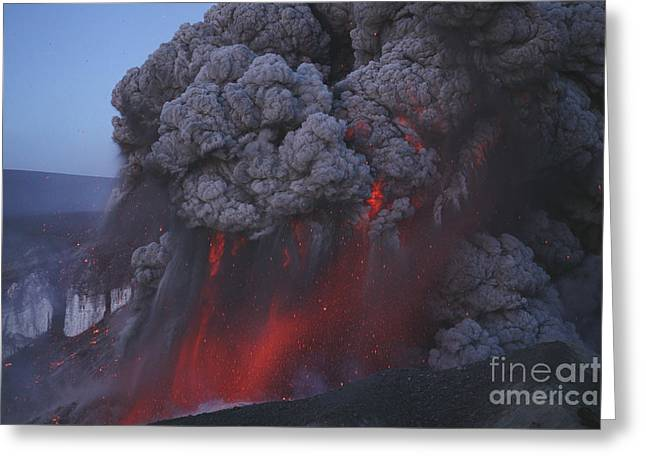 Land Feature Greeting Cards - Eyjafjallajökull Eruption, Summit Greeting Card by Martin Rietze