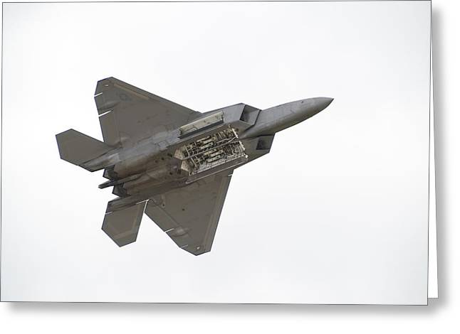 Stunts Greeting Cards - F-22 Raptor Greeting Card by Sebastian Musial