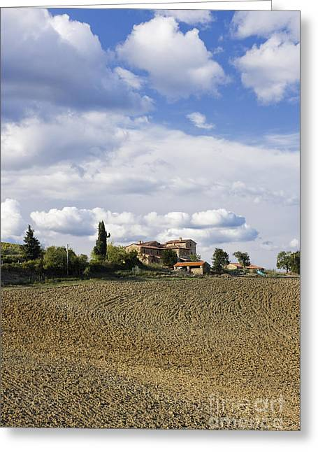 Tuscan Hills Greeting Cards - Farmhouse and Field Greeting Card by Jeremy Woodhouse