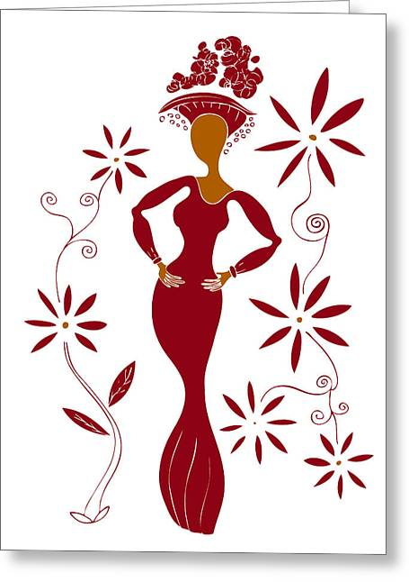 Red Abstracts Drawings Greeting Cards - Fashion Illustration Greeting Card by Frank Tschakert