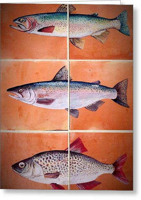 Sports Ceramics Greeting Cards - 3  Fish Mural Greeting Card by Andrew Drozdowicz
