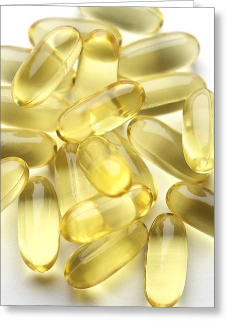 Capsule Greeting Cards - Fish Oil Capsules Greeting Card by Jon Stokes