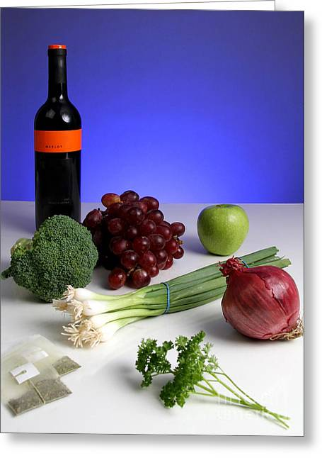 Broccoli Greeting Cards - Foods Rich In Quercetin Greeting Card by Photo Researchers, Inc.