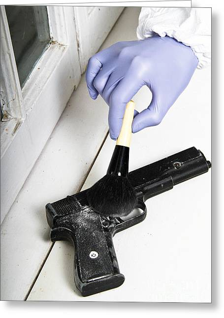 White Suit Greeting Cards - Forensic Evidence Greeting Card by Photo Researchers, Inc.