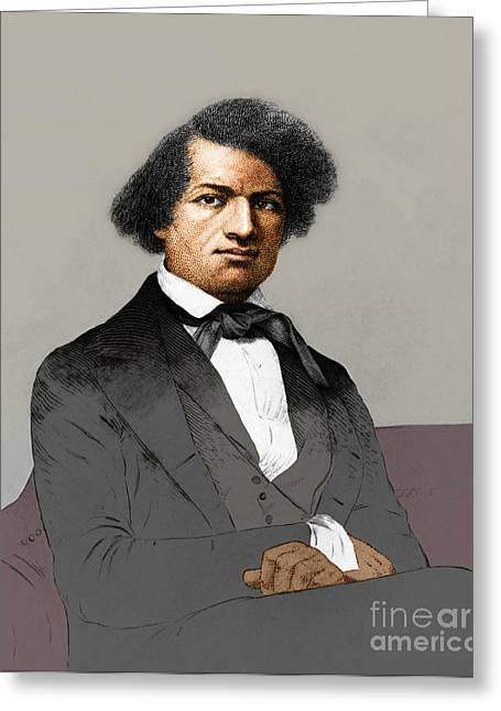 Slavery Greeting Cards - Frederick Douglass, African-american Greeting Card by Photo Researchers