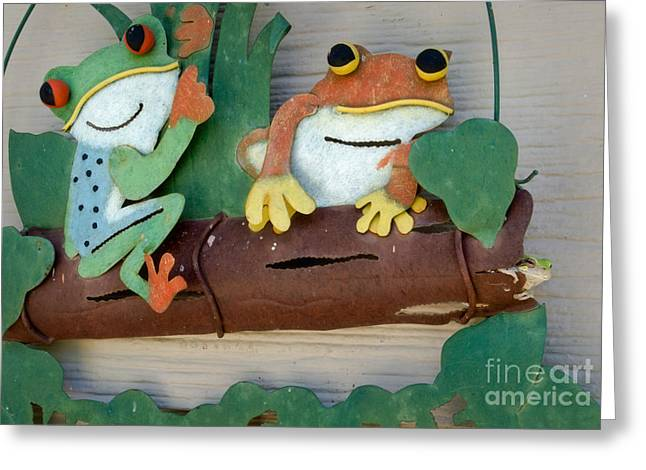 Tree Frog Greeting Cards - 3 Frogs on a Log Greeting Card by Fred Lassmann
