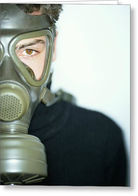 Terrorist Greeting Cards - Gas Mask Greeting Card by Lawrence Lawry