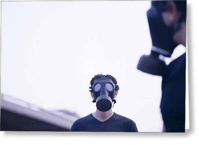 Terrorist Greeting Cards - Gas Masks Greeting Card by Cristina Pedrazzini