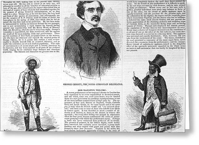 Blackface Greeting Cards - George Christy (1827-1868) Greeting Card by Granger