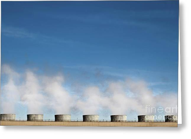 Manufacturing Greeting Cards - Geothermal Plant Greeting Card by Eddy Joaquim