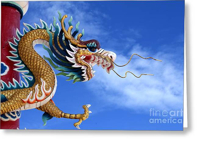 Holy Icons Greeting Cards - Giant golden Chinese dragon Greeting Card by Anek Suwannaphoom