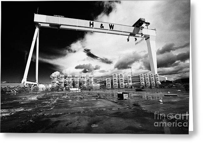 Component Greeting Cards - Giant Harland And Wolff Crane Goliath At Shipyard Titanic Quarter Queens Island Belfast Greeting Card by Joe Fox