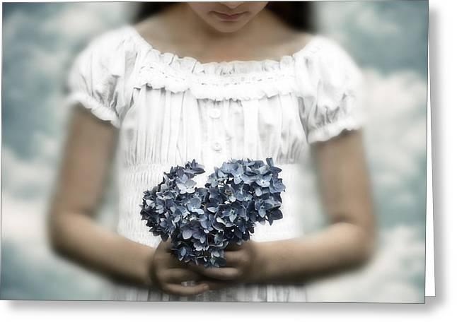 girl with hydrangea Greeting Card by Joana Kruse