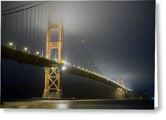 Foggy Ocean Greeting Cards - Golden Gate Bridge at Night Greeting Card by Mike Irwin