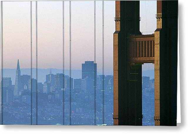 Downtown San Francisco Greeting Cards - Golden Gate Bridge Greeting Card by Ron Watts