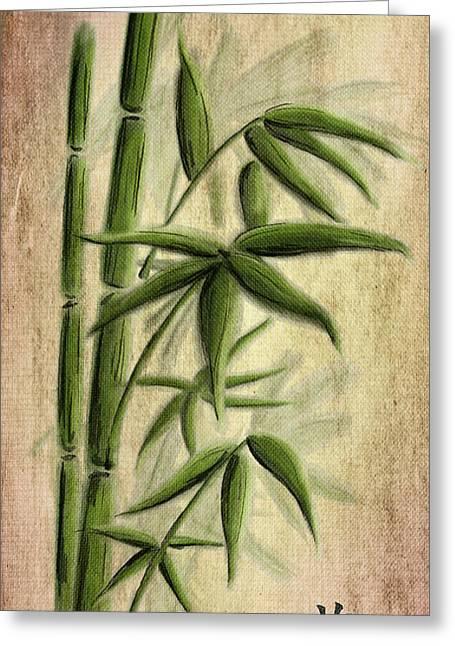 Bamboo Mixed Media Greeting Cards - Grass Greeting Card by Svetlana Sewell