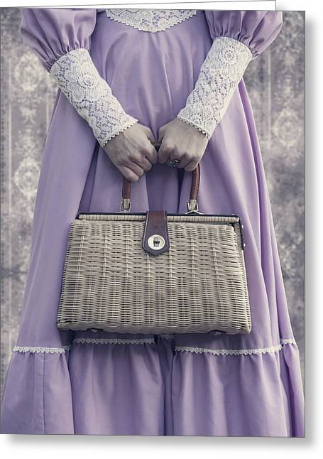 Sleeve Greeting Cards - Handbag Greeting Card by Joana Kruse