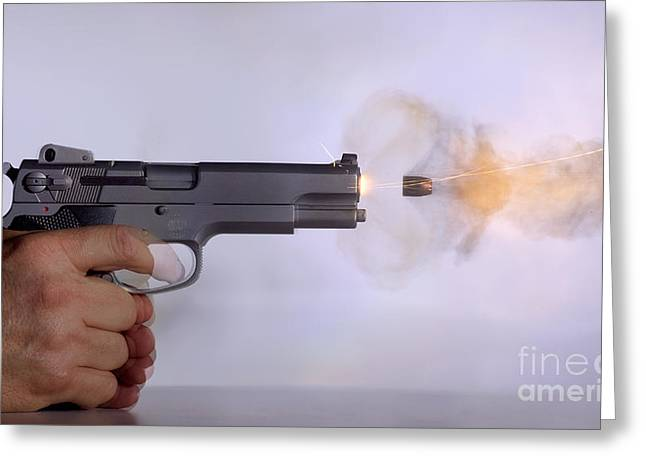 Gun Powder Greeting Cards - Handgun And .45 Caliber Bullet Greeting Card by Ted Kinsman