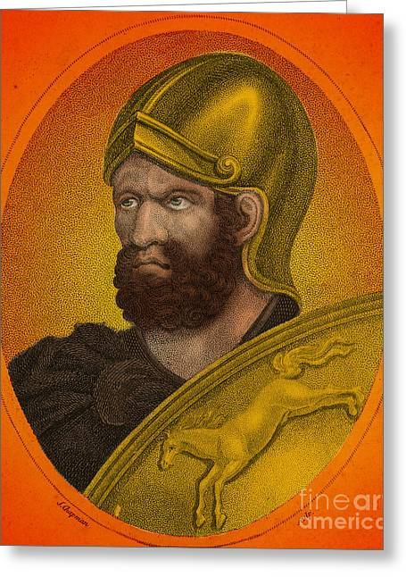 Portrait Woodblock Greeting Cards - Hannibal, Carthaginian Military Greeting Card by Photo Researchers