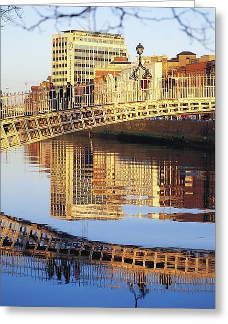 Historic Village Cross Greeting Cards - Hapenny Bridge, River Liffey, Dublin Greeting Card by The Irish Image Collection