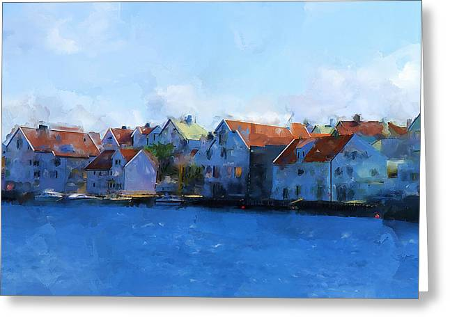 Haugesund Harbour Greeting Card by Michael Greenaway