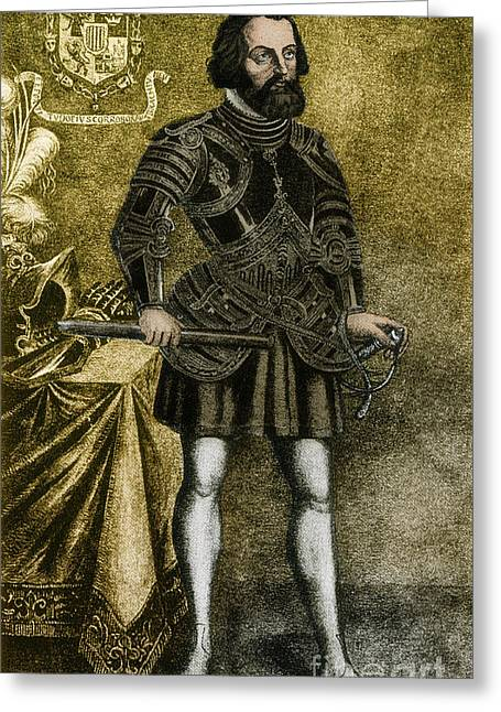 1485 Greeting Cards - Hernando Cortez, Spanish Conquistador Greeting Card by Photo Researchers