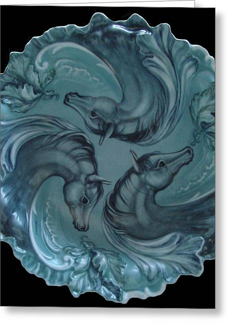 Nature Ceramics Greeting Cards - 3 Horses in Teal Greeting Card by Shirley Heyn
