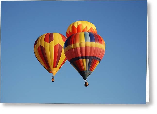 Three Hot Air Balloons Greeting Cards - 3 Hot Air Baloons Greeting Card by Linda Larson