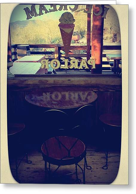Empty Chairs Greeting Cards - Ice Cream Parlor Greeting Card by Nasser Studios