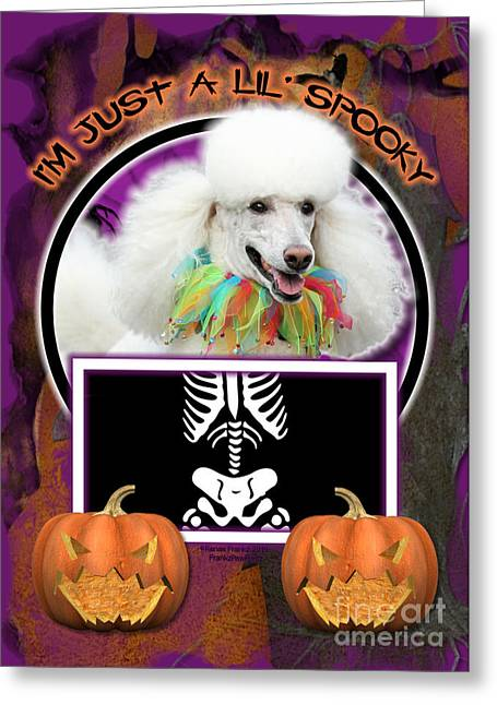 Pet Greeting Cards - Im Just a Lil Spooky Poodle Greeting Card by Renae Laughner