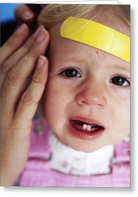 Bandaid Greeting Cards - Injured Baby Girl Greeting Card by Ian Boddy
