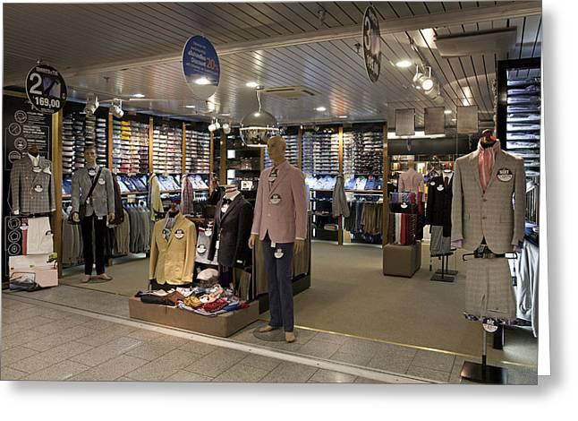 Italian Mens Fashion Shop In Tallinn Greeting Card by Jaak Nilson