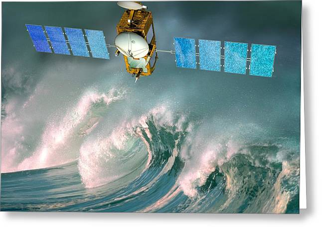 Rising Sea Level Greeting Cards - Jason-2 Satellite, Artwork Greeting Card by David Ducros