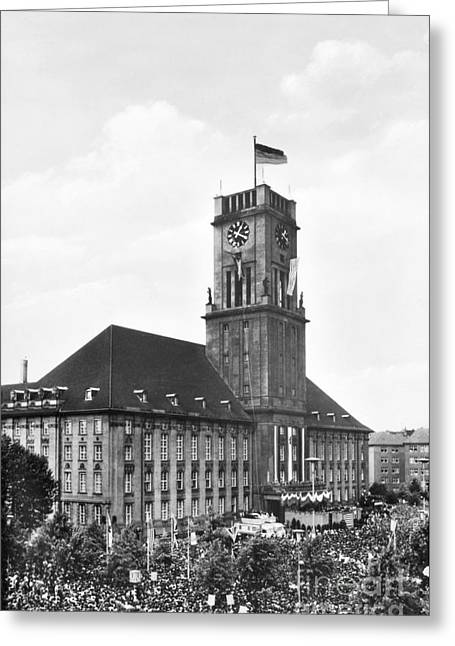 West Berlin Greeting Cards - J.f.k. In Berlin, 1963 Greeting Card by Granger