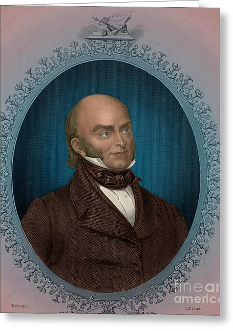 Democratic Republican Greeting Cards - John Quincy Adams, 6th American Greeting Card by Photo Researchers