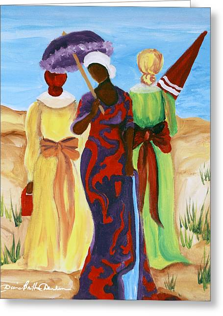 African-american Mixed Media Greeting Cards - 3 Ladies Greeting Card by Diane Britton Dunham
